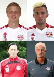 Die Ehrenmitglieder der Raging Bulls: Martin Hinteregger, Kevin Kampl, Roger Schmidt und Herbert Ilsanker