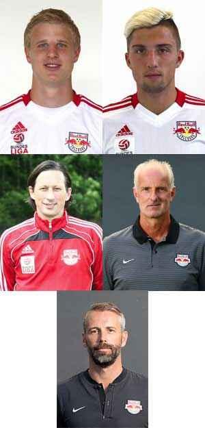 Die Ehrenmitglieder der Raging Bulls: Martin Hinteregger, Kevin Kampl, Roger Schmidt, Herbert Ilsanker und Marco Rose